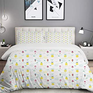 LUNASVT 3PC Bedding Set Eighties and Nineties Themed Ice Cream and Pineapple Design Retro 1 Duvet Cover with 2 Matching Pillowcases Apartment Bedroom Decor Full/Queen