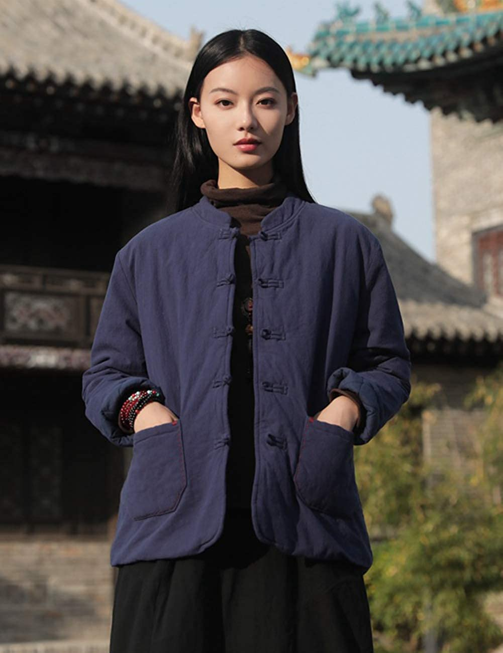 LZJN Women's Quilted Lightweight Jacket Coat Chinese Tang Suit Style Cotton Linen Short Coats with Pockets