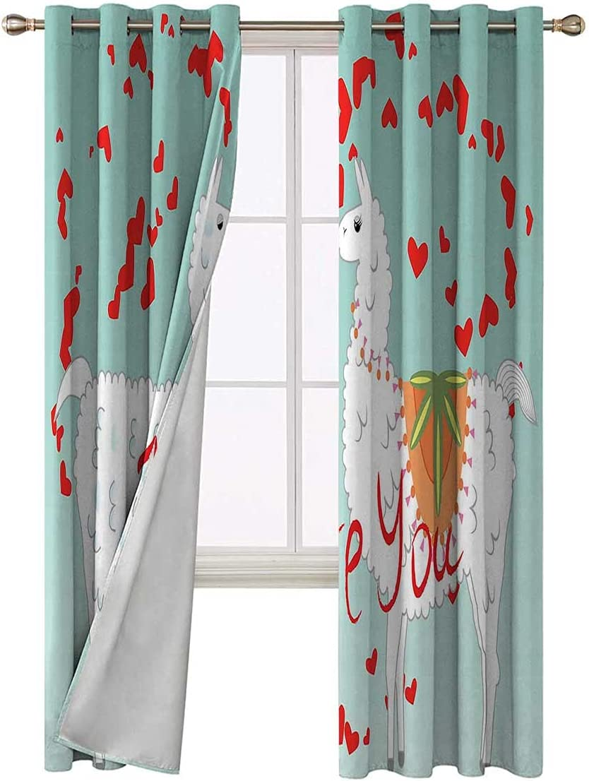 Blackout Curtain Liners 96 Inch Long and Dedication Llamas Hearts OFFicial site Bl Lover
