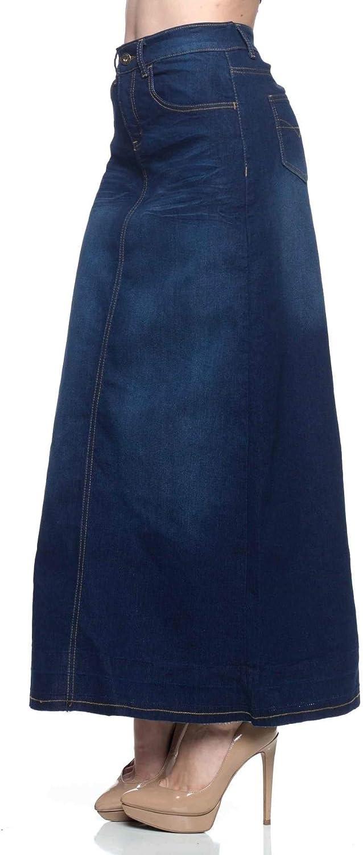 Fashion2Love Women's Juniors Long A-Line Stretch Denim Maxi Skirt (86319)