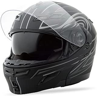 G-Max GM54S Modular Street Helmet , Color: Flat Black/Silver, Size: Lg, Style: Derk 1540396 F.TC-12