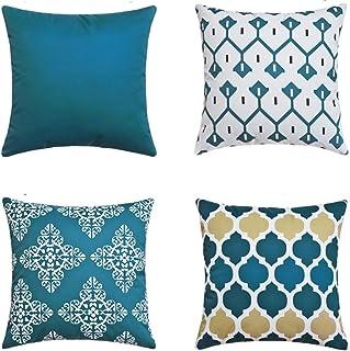 LIANNAO Lot DE 4 Housse De Coussin, Style Géométrique Simple Moderne Polyester Carré Décoratif Taie d'oreiller Canapé Voit...