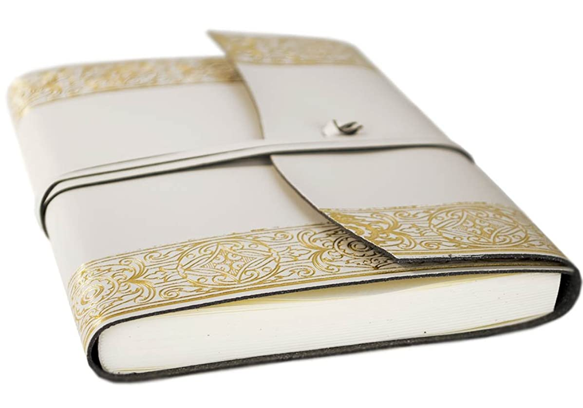 LEATHERKIND Angelus Recycled Leather Journal Gold, A5 Plain Pages - Handmade in Italy