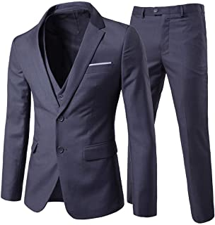 Men's Suits Casual Business Slim Fit 3 Piece Suit Notch Lapel 2 Button Blazer Jacket Waistcoat and Pants