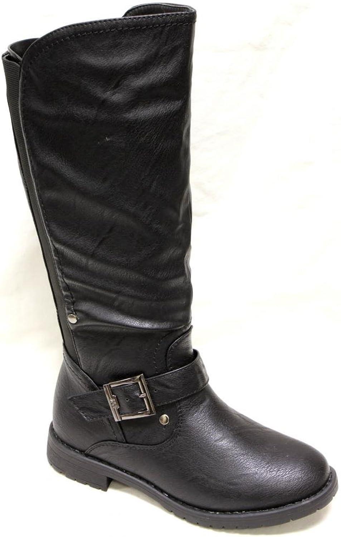 Top Moda Club-30 Women's Round Toe Stud Decor Ankle Strap Rear Elastic mid Calf PU Boots