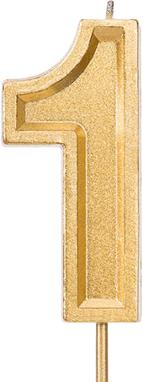 LUTER 2.76 Inches Large Birthday Candles Gold Glitter Birthday Cake Candles Number Candles Cake Topper Decoration for Wedding Party Kids Adults (1)