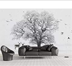 Wallpaper Nordic Minimalist Black and White Snow Big Tree Flying Bird elk Home Decoration TV Background 3D Wallpaper MRQXD...