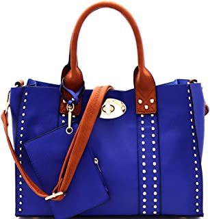 Twist Lock Studded 3 in 1 Soft Structure Plain & Ostrich Vegan Leather Tote Purse Handbag with Crossbody SET