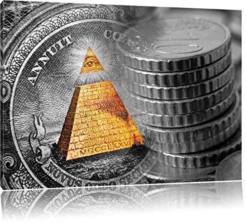 Illuminati Pyramide, black and white Dollar schwarz/weiß Format: 100x70 auf Leinwand, XXL riesige Bilder fertig gerahmt mit Keilrahmen, Kunstdruck auf Wandbild mit Rahmen, günstiger als Gemälde oder Ölbild, kein Poster oder Plakat