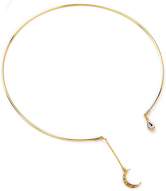 CH01 Women Crystal Moon Choker Necklace Drop Tassel Choker Collar Necklace Jewelry Gifts