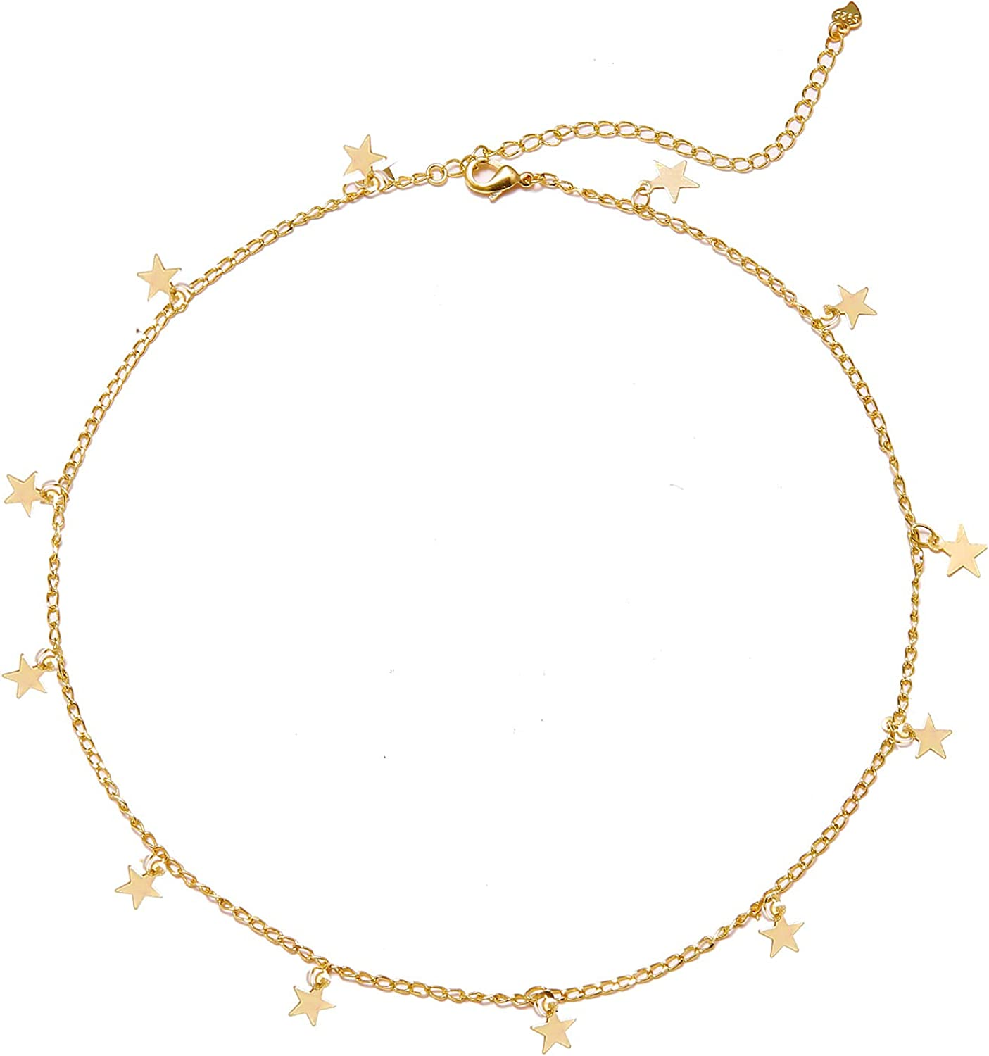 Frodete Gold Star Choker Necklace for Women Cute Necklace for Teen Girls Trendy Star Necklace Choker Adjustable