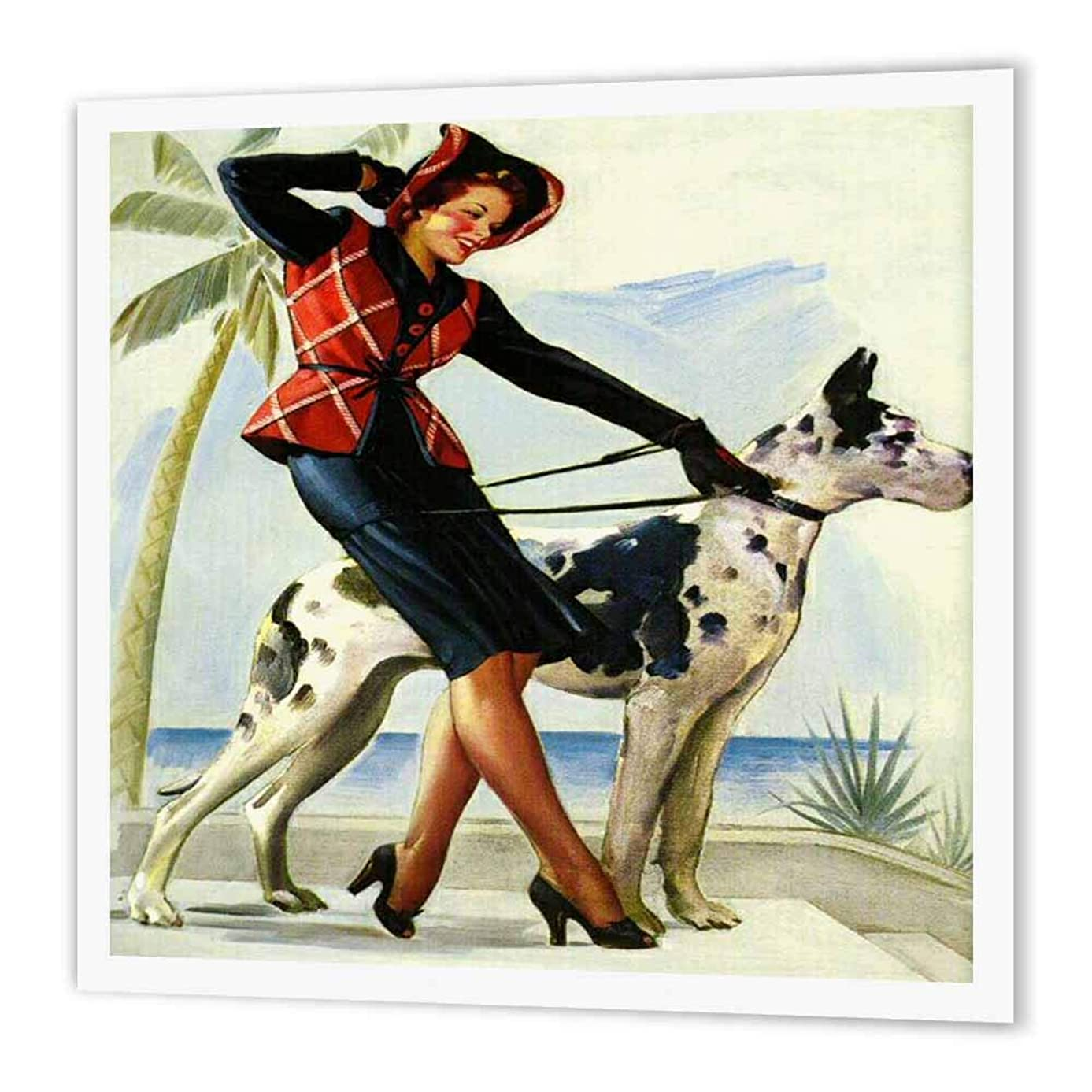 3dRose ht_204161_1 Print of Elvgren Pinup with Great Dane Iron on Heat Transfer, 8 by 8