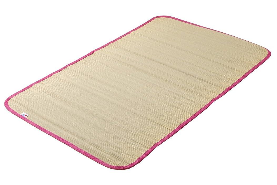 液体特許アニメーション国産い草使用 ベビーサイズい草シーツ「 さわやか 」【IB】サイズ:約70×120cm ピンク(#7411659) 寝ござ