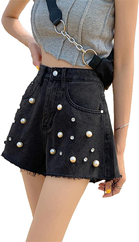 gfdrt Wide-Leg Pants Women's Summer high Waist Slim Design Sense Pearl Outer wear hot Pants Denim Shorts(S,Black)