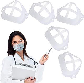 قاب پشتیبانی داخلی براکت ماسک صورت سیلیکونی برای نفس کشیدن راحت ، فنجان ماسک 3D Labato محافظ بینی قابل استفاده مجدد برای پارچه ماسک محافظ رژ لب ماسک محافظ رژ لب خنک (5 عدد ، شفاف)