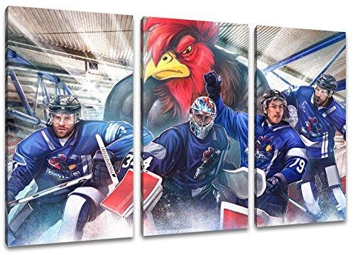 Iserlohn Eishockey, Fan Artikel Leinwandbild 3Teiler Gesamtmaß 120x80cm, Auf Holzrahmen gespannt, Kein Poster oder billig Plakat, Must Have für echte Fans