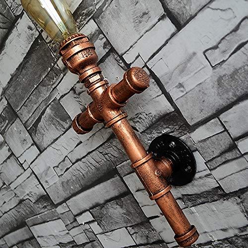 QTRT Loft Retro Lámpara De Pared Hierro Arte Tubería De Agua Luz De La Pared Apliques De Viento Industrial Estadounidense Edison E27 Luz Para Sala De Estar Dormitorio Café Restaurante Bar Pasillo Balc