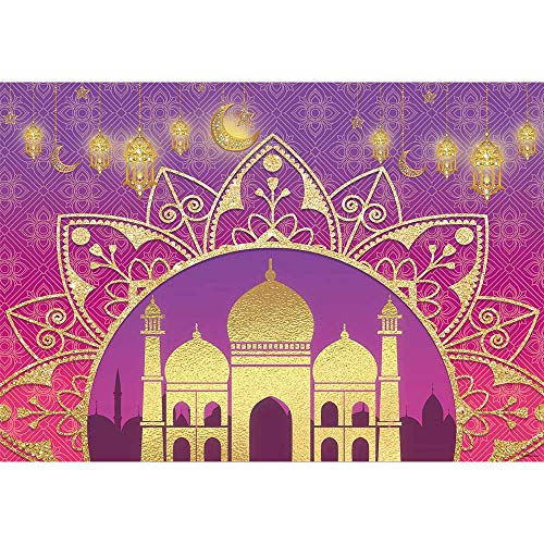 Allenjoy 7x5ft Arabian Nights Moroccan Party Photography Backdrop Magic Genie Gold Palace Happy Birthday Sweet 16 Banner Background Indian Bollywood Portrait Newborn Baby Shower Decors Photo Booth