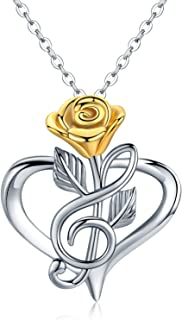 Rose Necklace,14K Gold Plated Infinity Music Note Rose Flower Necklace 925 Sterling Silver Heart Pendant Dainty Necklace Jewelry Gift for Women Mom