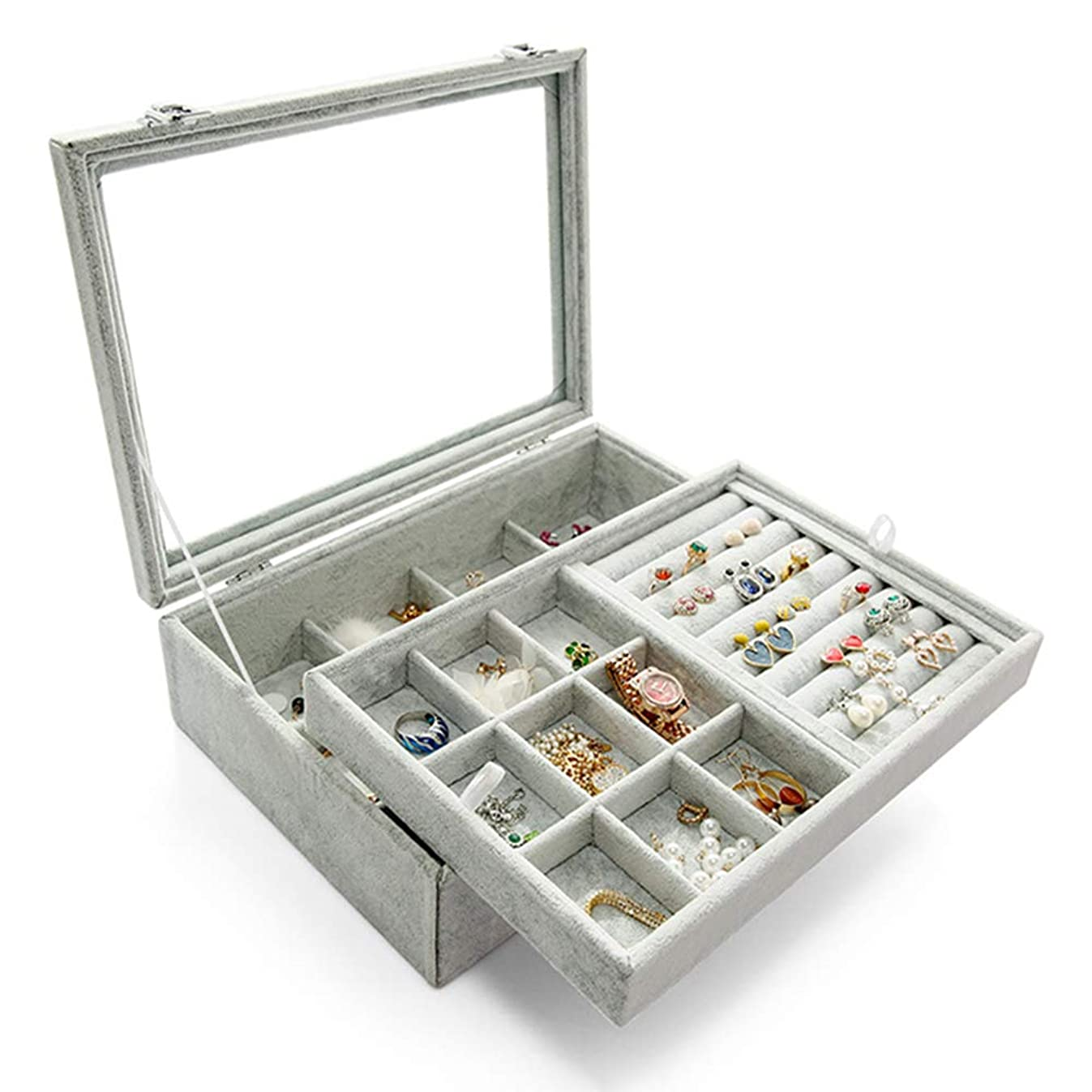 Wuligirl?Clear?Lid?Ring Earrings?Organizer?Holder?2 Layer Ice Velvet 12 Grid Jewelry Tray Box Removable Display Storage Necklace Bracelet(2 Layer?Box)