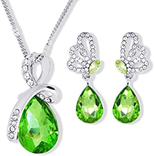Elegant Unique Butterfly Jewelry Set For Women - 18K White Gold Plated Crystal Necklace & Earrings Set - Birthday Valentin...