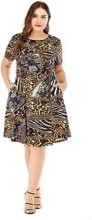 Women's Short Sleeve Dresses Milk Silk Casual Loose Large Size Beach Dresses Simple (Color : Black, Size : XXXXL)