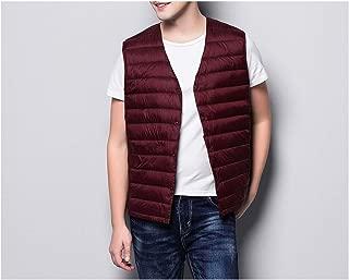jimwili Man Ultra Light Down Vest Sleeveless V Neck Vest Casual Winter Collarless Waistcoat
