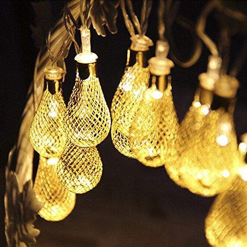 Lichterkette FeiliandaJJ 20LED 2.15M Marokkanischer Metallball LED-Licht für Weihnachten Halloween Hochzeit Party Innen/Außen Haus Deko String Lights 3×AA Batterie (Gelb)
