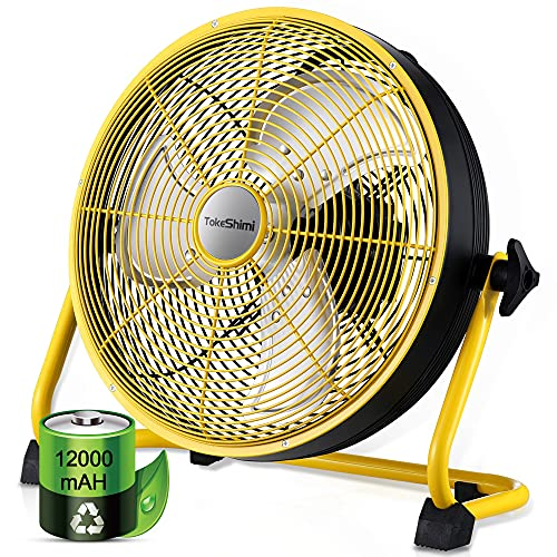 TokeShimi 12 Inch Battery Powered Fan, Outdoor Fans Cordless Portable Rechargeable Fan, High Velocity Operated Fan, 12000mAh Run 24hr with Metal Blade, USB Output for Phone