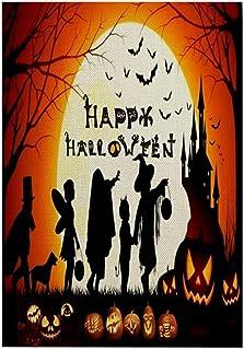 ASKLKD Trick ou Traiter Drapeau de jardin, Happy Halloween Halloween Hall d'accueil Signe Double face Conception d'impress...