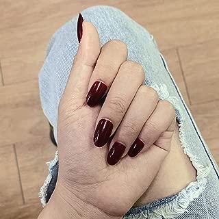 Milanco 24 pcs False Nails Red Bling Glitter Gel Glossy Finish Natural Short Oval Nails Full Cover Salon Nails Art for Women (S024)