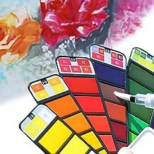 Pinturas de Acuarela para Profesionales y Principiantes 36 Colores Estuche de Acuarelas y Pincel Port/átil Pinturas Solubles en Agua TIMESETL Juegos de Pintura para Ni/ños