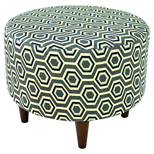 MJL Furniture Designs Sophia Collection Cott Ashton Series Contemporary Round Ottoman, Gray/Tan/Blue/Wooden Legs