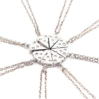 Fashion 2016 Various Friend Birthday Gift Best Friend Forever Circular Shaped Cheese Stitching Necklace Into 8 Pcs Pizza Pendant for Besties and Friends