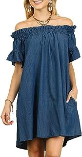 SIMSHION Womens Ruffled Sexy Off Shoulder Short Sleeve Denim Casual Loose Mini Dress