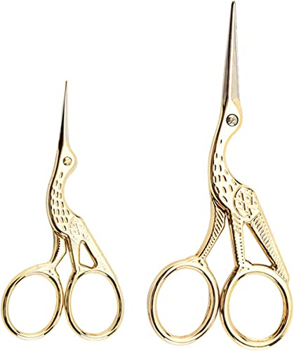Acronde 2PCS Vintage Stork Shape Sewing Scissors Stainless Steel Tailor Scissors Sharp Sewing Shears for Embroidery, ...