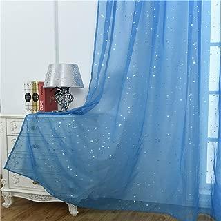 WUBODTI Kid Boy Room Window Sheer Sky Blue Curtain Panels Rod Pocket Beautiful Star Voile Sheer Drapes Curtains for Bedroom Living Room Nursery Room,Window Treatments,39 x 79 inch,Blue,1 Panel