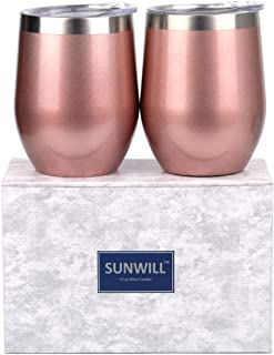 SUNWILL Insulated Wine Tumbler with Lid Rose Gold 2 pack, Double Wall Stainless Steel Stemless Insulated Wine Glass 12oz, Durable Insulated Coffee Mug, for Champaign, Cocktail, Beer, Office
