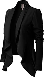 MixMatchy Women`s [Made in USA] Solid Formal Style Open Front Long Sleeves Blazer (S-3X)