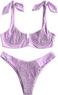 ZAFUL Women's Shirred Tie Shoulder Underwire High Cut Two Piece Bikini Set