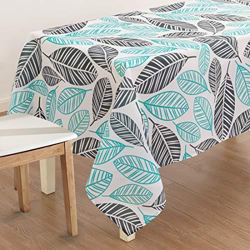 X-Labor - Mantel lavable rectangular, resistente al agua, tejido Oxford, fácil de limpiar, para jardín, habitaciones, decoración de mesa, Hojas verdes., 140*200 cm
