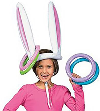 Inflatable Bunny Rabbit Ears Hat with Rings Holiday Party Toss Game