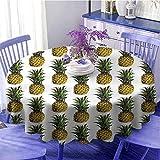 Pineapple Decor Multi-patrón redondo mantel de mesa Ilustración de piña cruda Gourmet vacaciones remotas escapada palmeras arte celebración festival diámetro 59 pulgadas