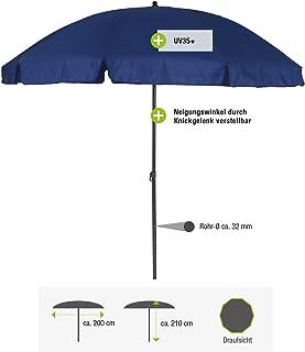 greemotion Parasol Garden Umbrella - Sunshade Canopy in Blue