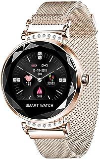Gymqian H2 Women Watch Smart Watch, con Recordatorio de Llamadas Pedómetro Deportivo Tarifa Cardíaca Presión Arterial Smart Watch Pulsera, Aplicable a Android 4.4, Ios 8.0, Soporte