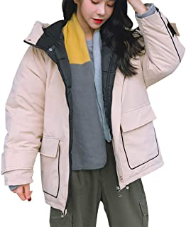Ladies Winter Jacket Puffer Jacket Short Parka Hooded Jacket Solid Coat Thicken Jacket Loose Fit Coat with Pocket