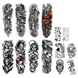 DaLin Temporary Tattoo Sleeves Extra Large Full and Half Arm Fake Tattoos Sleeve for Women Men, 14 Sheets (Collection 7)