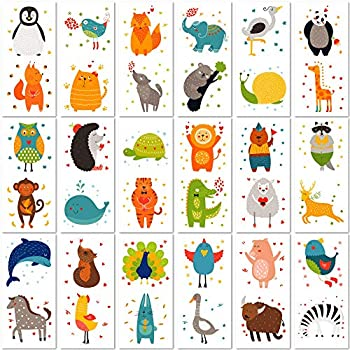 PapaKit Cute Zoo Animals 36 Temporary Fake Tattoo Set 18 Individually Wrapped Sheets   Kids Girls & Boys Birthday Party Favor Gift Supply Non-Toxic Food Grade Ingredients Safe Removable