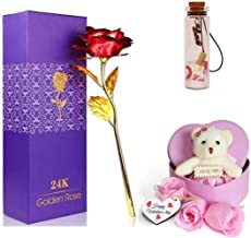 DSD Golden Rose with Pink Heart Box Teddy & Message Bottle