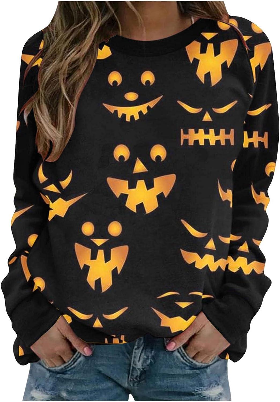 Halloween Sweatshirts for Women Casual famous Pumpkin Graphic Festival San Jose Mall